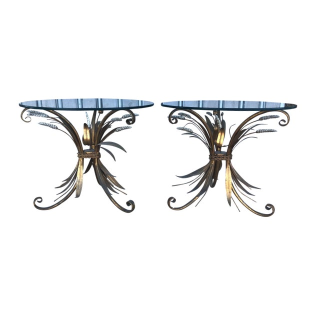 Midcentury Italian Gold Leaf Iron Side Tables - Pair For Sale