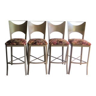 """X"" Support Flat Iron Bar Stools - Set of 4 For Sale"