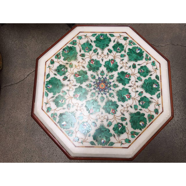 Anglo-Indian Pietra Dura Marble-Topped Octagonal Table Inlaid in Taj Mahal Anglo Raj Style For Sale - Image 3 of 13