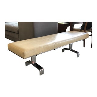 Decca Modern Faux Shagreen Upholstered Steel Bench For Sale