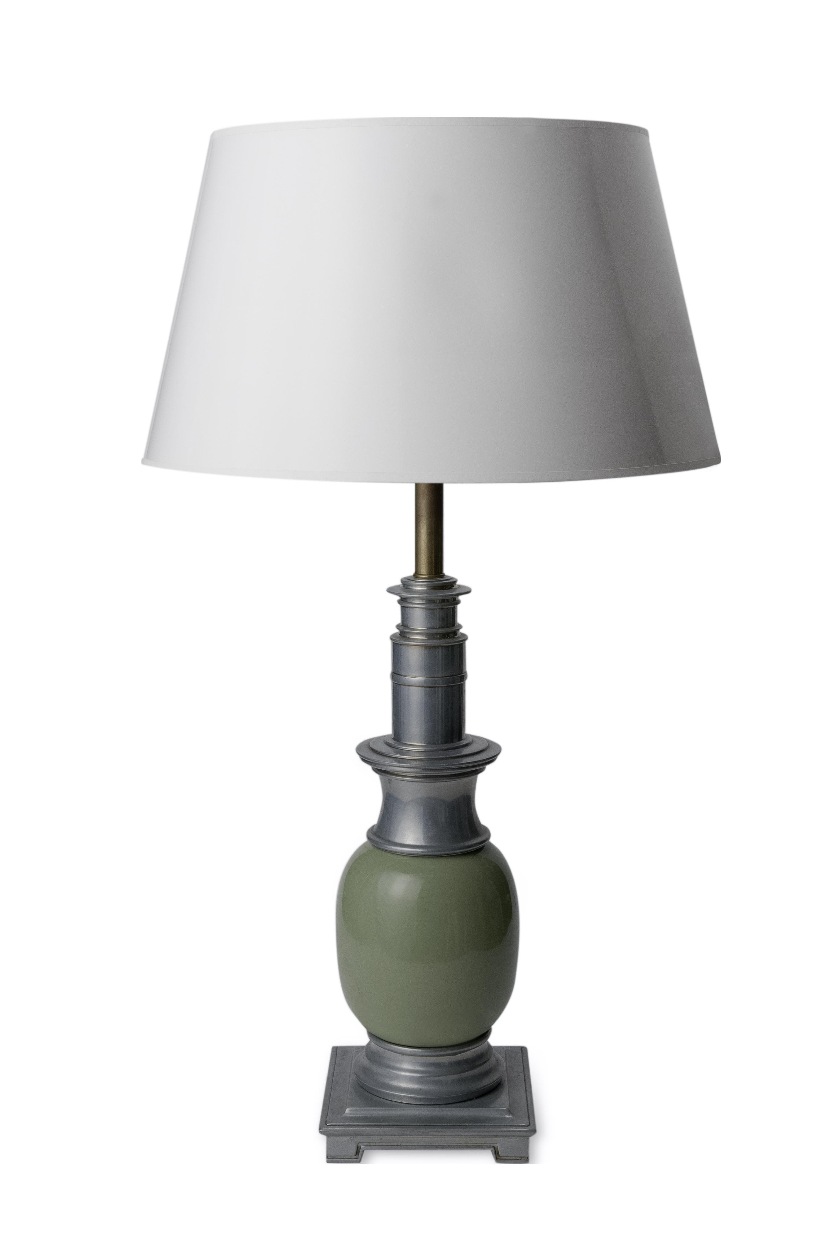 Vintage Stiffel Celadon Glazed Ostrich Egg Table Lamp
