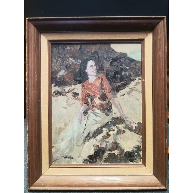 Mid-Century Modern Vintage Mid-Century Lady on the Rocks Painting For Sale - Image 3 of 3