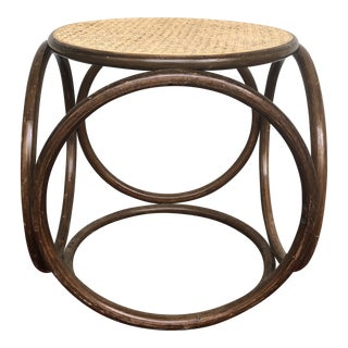 1970s Vintage Thonet Bentwood Cane Stool For Sale
