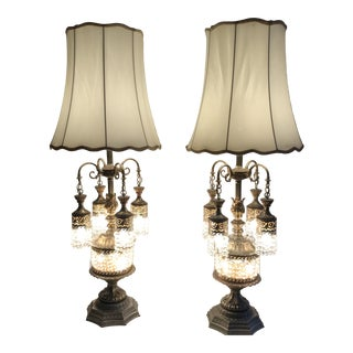 Rococo Italian Loevesky and Loevesky Waterfall Prism Table Lamps - a Pair For Sale