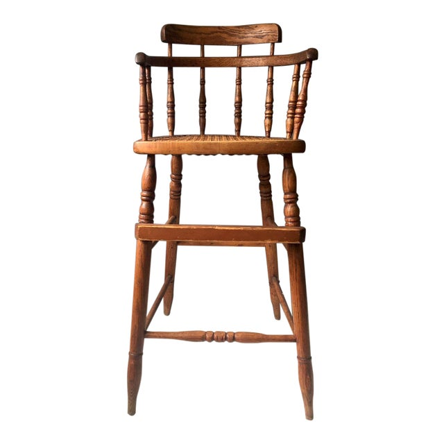 Antique Caned Seat Oak Youth Chair - Antique Caned Seat Oak Youth Chair Chairish