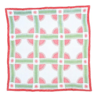 Handmade Red & Green Cotton Quilt For Sale
