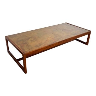 Harry Lunstead Acid Etched Copper and Walnut Coffee Table For Sale