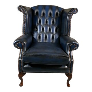 Vintage Mid-Century English Leather Chesterfield Wingback Chair, Blue For Sale