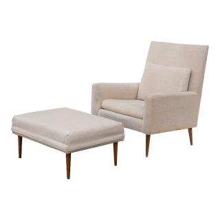 Paul McCobb Lounge Chair and Matching Ottoman by Directional - a Pair For Sale