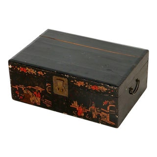 1960s Vintage Black Hand-Painted Chinoiserie Box For Sale