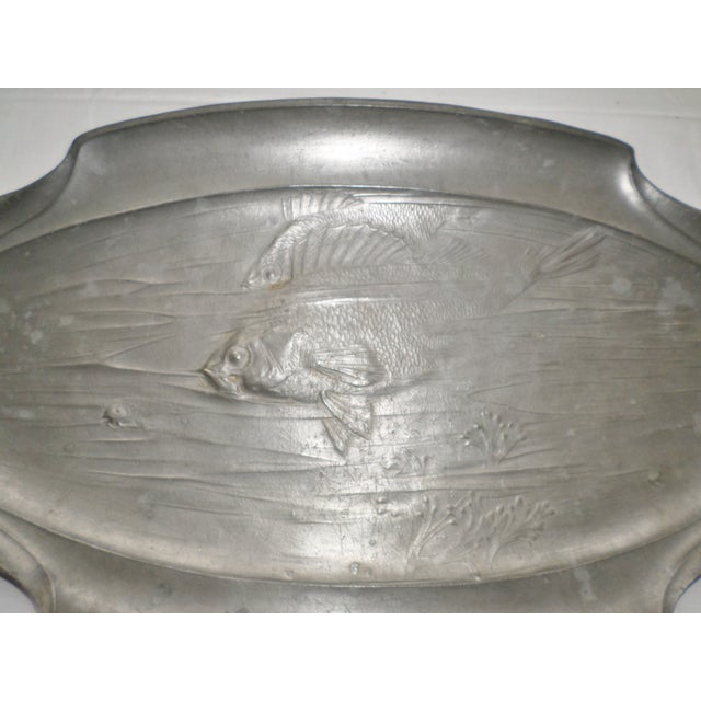 Art Nouveau Antique Orivit Pewter Art Nouveau German Fish Platter For Sale - Image 3 of 12