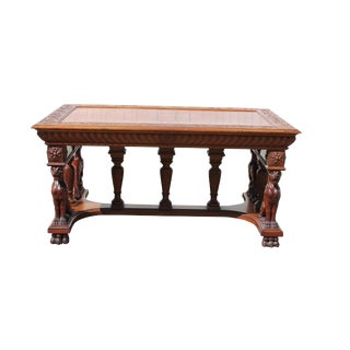 Antique 1890s Library Table With Griffin Heads For Sale
