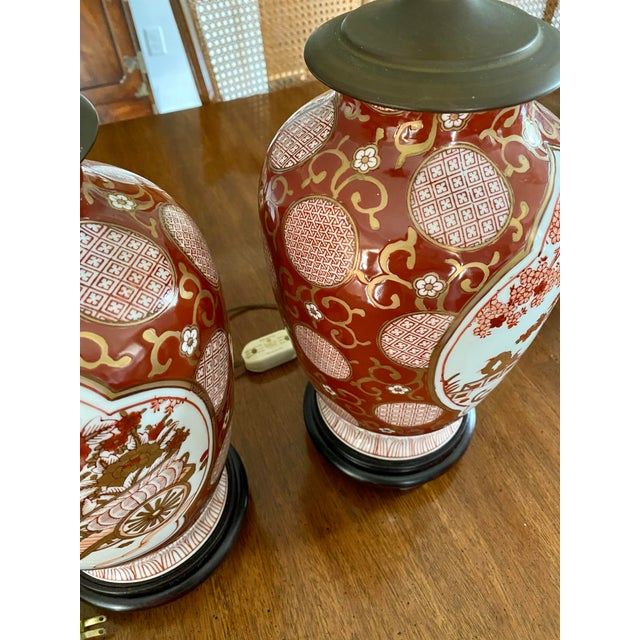 Vintage Gold Imari Red and Gold Lamps - a Pair For Sale - Image 12 of 13