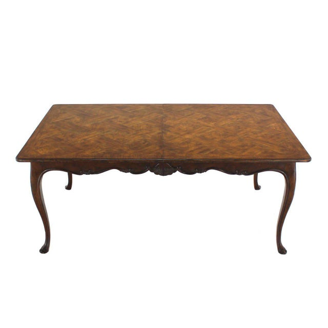 Baker Furniture Company Large Baker Parquet Top Dining Table Two Extension Boards For Sale - Image 4 of 8