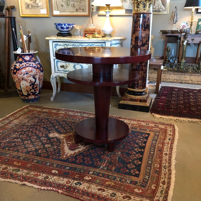Mahogany 1980s Traditional Swaim Furniture Two-Tiered Round Center Table For Sale - Image 7 of 10