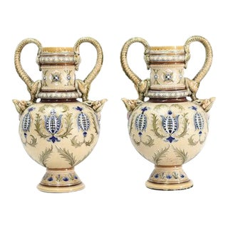 1900s German Signed Mettlach Vases-a Pair For Sale