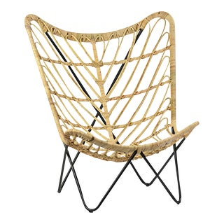 Rattan & Iron Butterfly Chair For Sale
