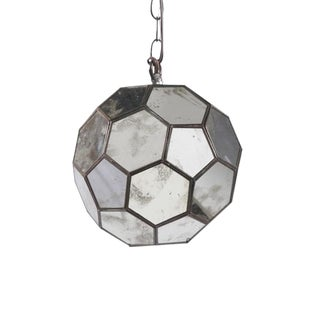 Worlds Away Knox Antique Mirror Faceted Ball Pendant - Small For Sale