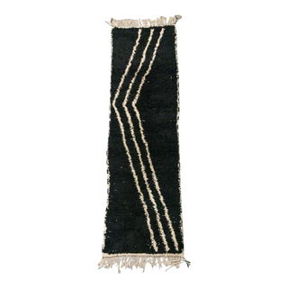 Black With Ivory Triple Stripe Shag Moroccan Runner For Sale