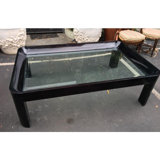 1980s Vintage 1980's Black Lacquer Rounded Corner Coffee Table For Sale - Image 5 of 6