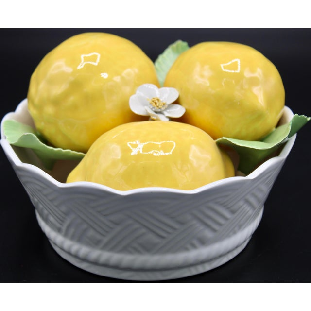 Italian Ceramic Round Lemon Basket For Sale - Image 10 of 11