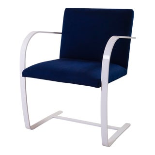 Brno Flat-Bar Chair in Navy Luxe Suede, Lunar Gloss Frame For Sale