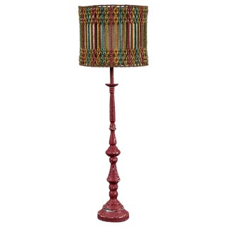 Vintage Lamp With Beaded Shade For Sale