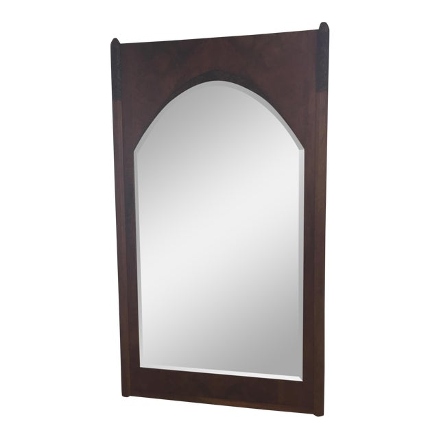 Art Deco Solid Walnut Carved Floor Mirror | Chairish