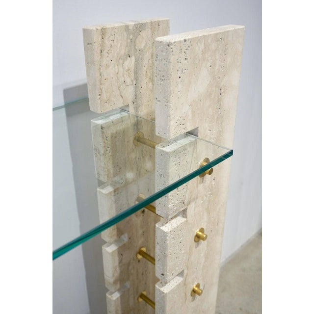 Gold Jean Charles 1970s French Minimalist Ivory White Travertine Console For Sale - Image 8 of 13