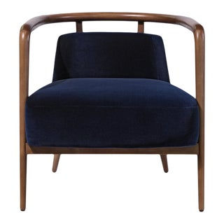 Contemporary Mid Century Style Scandinavian Modern Walnut Lounge Chair For Sale