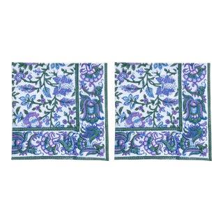 Aria Napkins, Lavender & Blue - A Pair For Sale