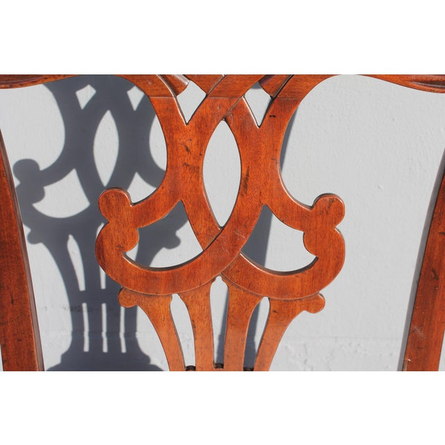 1960s Vintage Mid-Century Chippendale Style Carved Mahogany Occasional Chair For Sale - Image 5 of 12