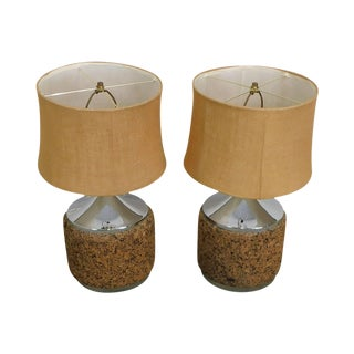 Mid Century Modern Chrome & Cork Pair Table Lamps For Sale