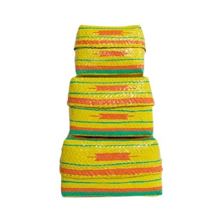 Yellow Pow Wow Baskets, Set of 3