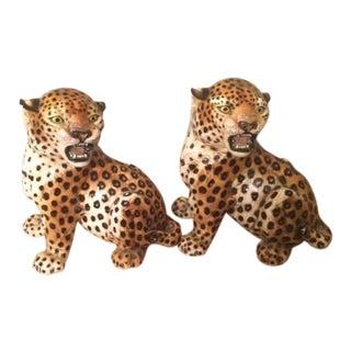 Ronzan Italian Mid-Century Ceramic Cheetah Statues - a Pair