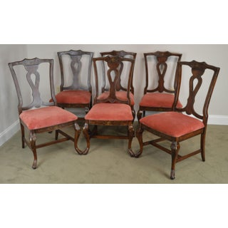 Lane Floral Paint Decorated Set 6 Provincial Style Dining Chairs Preview