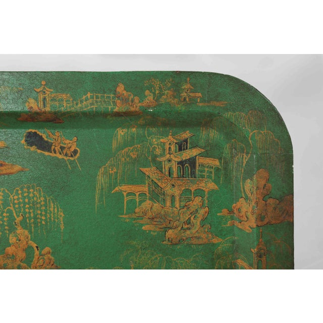1970s Vintage Chinoiserie Green Tray With Hand Painted Scenery in Gold Paint For Sale - Image 5 of 12
