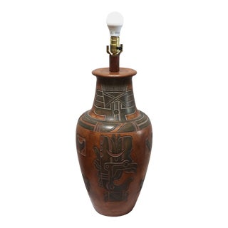 California Casual Lamps Aztec Style Etching Vintage Pottery Lamp For Sale