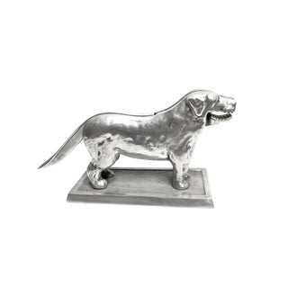 Vintage Mo-Reno Products Silver Toned Metal Dog Shaped Nutcracker For Sale