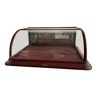 20th Century Industrial Curved Glass Quincy Show Case Works Mahogany Display Case For Sale