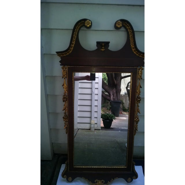 Vintage Federal Style Banded Mahogany Gold Gilt Frame Mirror For Sale - Image 4 of 5