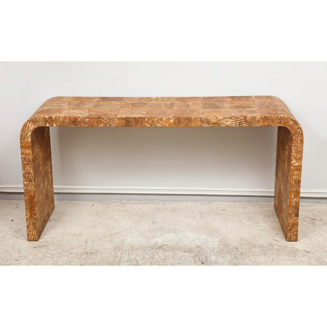 Wood Unusual Hand-Stenciled Bark Console Table For Sale - Image 7 of 7