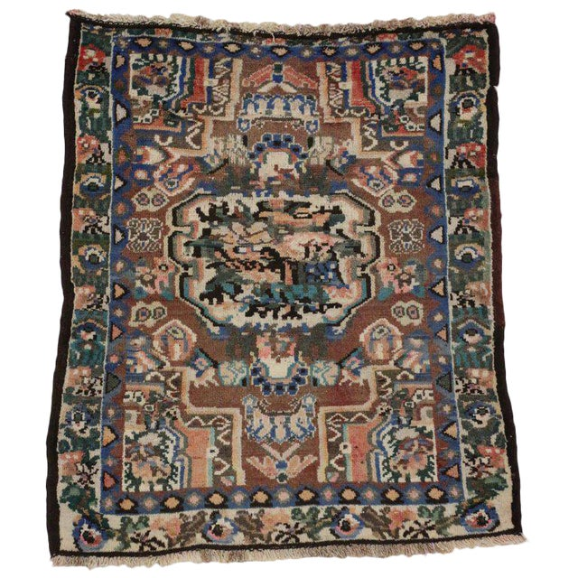 20th Century Persian Bakhtiari Accent Rug - 2′9″ × 3′2″ For Sale