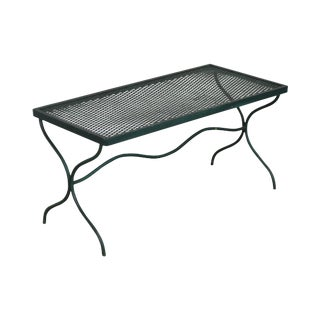 Salterini Vintage Expanded Metal X-Base Wrought Iron Patio Coffee Table For Sale