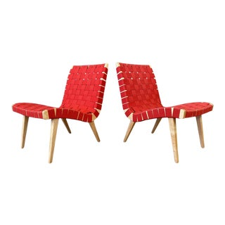 Pair of Jens Risom for KnollStudio Lounge Chairs, Maple With Red Webbing, 2013 For Sale