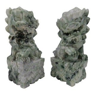 Early 20th Century Asian Antique Intricately Carved Jade Hardstone Foo Dogs - a Pair For Sale