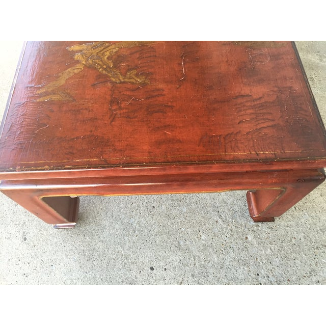 Mid-Century Red Lacquer Chinese Style Coffee Table - Image 3 of 7