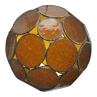 Moroccan Moorish Amber Glass Lantern or Orb Pendant For Sale
