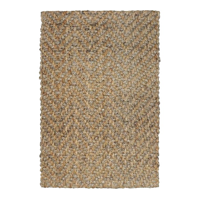 Herringbone Two Tone Natural Jute Rug - 5 X 8 For Sale