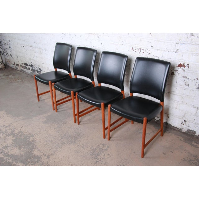 Danish Modern Torbjorn Afdal Teak and Black Leather Dining Chairs, Set of Four For Sale - Image 3 of 11